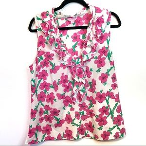 Lilly Pulitzer Allison Floral Ruffle Tank Top